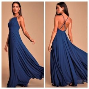 Lulu's mythical kind of love navy maxi dress XS